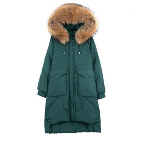 (TopFurMall) Зима Женщины Parkas вниз пальто куртки Real Raccoon Fur Lady Hoody X-Long Outwear шинель LF9175 DT191030