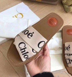 2020 Нового Фирменных Женщины Вуди Мулы Fflat Трусы Deisgner Lady маркировочной Ткань Открытой Кожа Подошва Slide Sandal