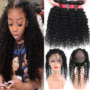 Pre Zupforchester 360 Lace Frontal Mit Bundles Tief Curly Welle 9A brasilianischen Jungfrau-Menschenhaar 3Bundles Angebote mit 360 Spitze-Stirnbandverschluss