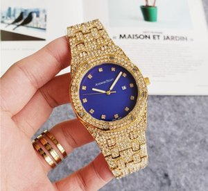 High Quality Hot Sale Business Mens diamond Male Women watch Round Full diamond ring wristwatch hour mark iced out Watch Day Date