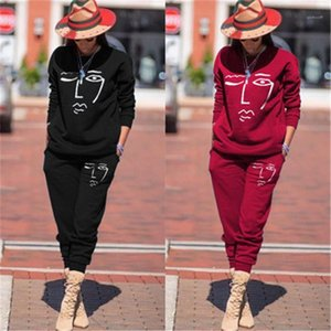 Tracksuits Autumn Designer Female Sports 2pcs Tops Pants Hoodies Sportswear Clothing Sets Women Casual Elasticity Suits Fashion Printing