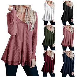 2019 cross-border autumn and winter explosions Amazon wish women's long-sleeved shirt V-neck waffle lace T-shirt female