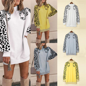 Solid Color Leopard Print Long Sleeve Mini Dress Casual Female Clothing Autumn Winter Womens Designer Hoodies Turtleneck