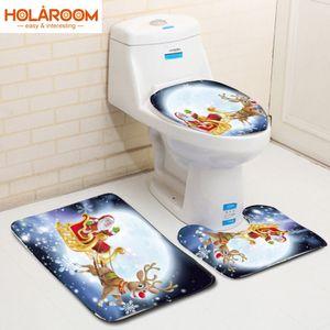 Holaroom 3PCS Weihnachten Mat Set Weihnachtsmann Badezimmer Mats WC Anti-Rutsch-Weihnachtsdekor-Toilettensitzabdeckung Teppich Home Decoration 2019