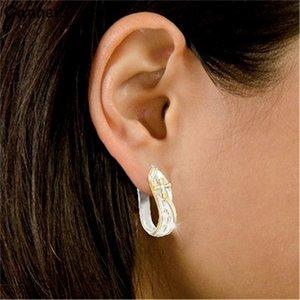Canner Silver Crystal Hoop Earrings Gold Cross Loop Footprint Earings For Women Gift