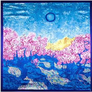 (90cm * 90cm) Le foulard carré vaste univers Pour dame Petites écharpes Soie Satin fleurs / plantes / Couleurs peinture / Foulards bonne qualité