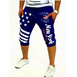 2020 Summer Nouveau Fan européens et américains Slim Drapeau américain Homme Imprimé Mode Urban Casual Shorts exercice