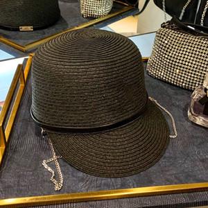 hasır şapka kadın kapaklar atlı şapkalar geniş brim şapka örgü şapka avangard moda gelişmiş kap paslanmaz çelik zincir 3 renk güneş şemsiyesi zinciri