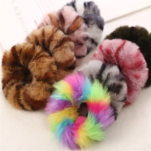 Braiders 1 Pcs New Fashion Colorful Leopard Print Plush Fur Scrunchies Elastic Hair Bands For Girls Warm Ponytail Holder For Girl Women