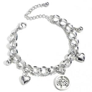 Hot sale New Luxury Designer Charm Stainless steel Bracelets For Women Life Tree Pendant Bangle Love Charm beads as Gift Diy Wedding Jewelry