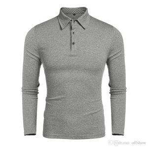 Mens Autumn Business Polo Shirts Spring Solid Color Turn Down Collar Tops