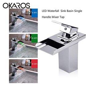 OKAROS LED ванной бассейна раковина кран Одной ручкой Водопад Отводы Brass Water Power Mixer Tap Tap Урожай ванной M046