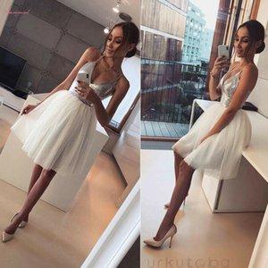 2020 Nueva llegada casual vestidos halter atractivo V profundo para mujer lentejuelas Elegancia del partido Mini vestido de noche vestido de línea A