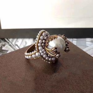 Latón marca mujeres de la vendimia de la manera suena Party los anillos de perlas de cristal grande grande de la vendimia cristalina colorida 678 #