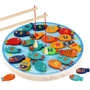 fishing wooden game set children baby educational novelty toys cognition magnetic toys set kids gifts baby play