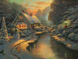 Soirée de Noël Home Décor peint à la main huile d'impression HD Peinture Sur Toile Art mur toile Photos 200316