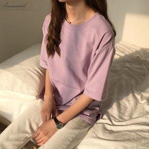 10 Colors Candy Solid Color Korean T Shirt For Women Slim Harajuku Tees Top Female Loose White Tshirts Summer Dropshiping