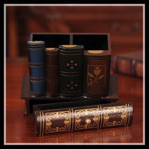 Forma de libro de madera titular de la pluma de múltiples funciones de madera del arte retro de la decoración del hogar de lápiz de escritorio caja de almacenamiento de escritorio titular ElimElim T200617