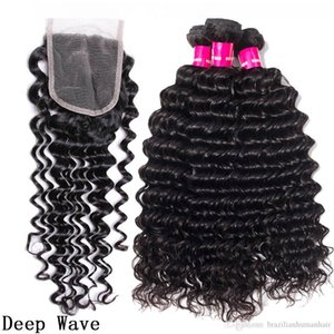 B 9a Brazilian Human Hair Weaves 3 Bundles With 4x4 Lace Closure Straight Body Wave Loose Wave Deep Wave Kinky Curly Hair Wefts With Cl
