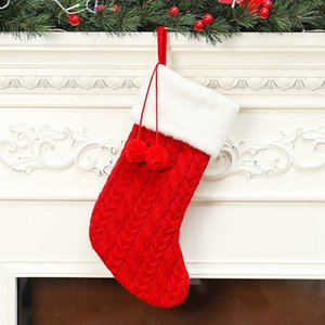 Knitted Plush Ball Christmas Socks Christmas Gift Bag New Year Socks Christmas Tree Ornaments Home Decor