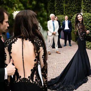 Gótico preta vestidos de casamento Sereia com Long Sleeve 2020 Open Back Lace Applique Botão Coberto País Vestidos de casamento