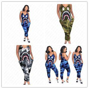 Diseñador de S-3XL Mujeres Camo ligas del color del mono Boca del tiburón impresión de una sola pieza de los pantalones atractivos de la manera V-cuello delgado Romper Ropa Nueva D52705