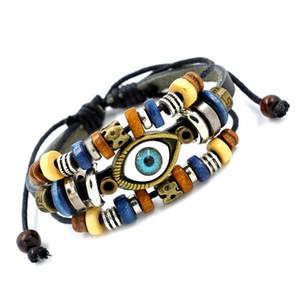 Multicouche Perle Charme Bracelets Fabriqué À La Main Turc Mauvais Oeil Bracelets Tressé En Cuir Réglable Mode Vintage Hommes Bijoux pour Femmes Filles