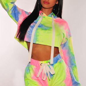 Teñido lazo diseñador de las mujeres de la moda Color Contraste sudaderas con capucha de la manga larga del remiendo Jerseys Sudaderas para mujer 2020 resorte de la ropa