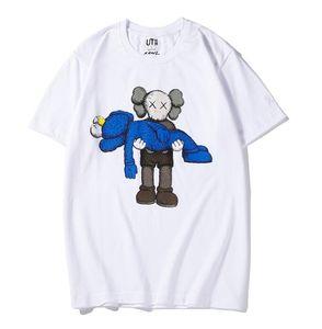 новые любители рубашки Мужчины Женщины Повседневная футболка с коротким рукавом UNIQLO X KAWS X SESAME STREET L мода пальто одежда тройники верхняя одежда тройник топы качество