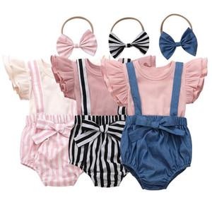La ropa de los bebés Camiseta sólido camisa de la liga de los cortocircuitos del Bowknot diadema sistemas de la ropa de verano de la manga de la mosca de rayas arriba Hairband CYP619 Traje