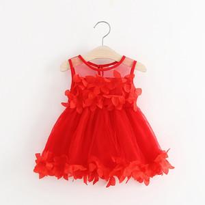 Kızlar Yaprakları Elbise Çocuklar Yaprakları Patchwork Gazlı Bez Etek Toddler Kolsuz Prenses Elbiseler Bebek Çiçek Yaz Parti Elbise GGA2287
