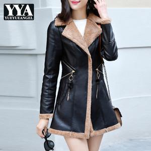 Moda Kore Slim Fit PU Deri Ceket Womens Kış Sonbahar Kalın Sıcak Kürk Astar Rahat Bayanlar Uzun Faux Deri Ceket Kaban