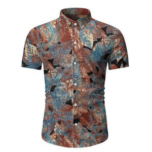 Shirt imprimé floral vacances à manches courtes Homme T-shirts simple boutonnage plage Tops Hommes Casual Summer garçons Hawaii