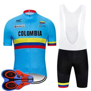 şort 9D uymak yaz hızlı kuru bisiklet spor üniforma Y20070605 önlük erkekler kolombiya ekibi bisiklet forması Set kısa kollu yol bisikleti gömlek