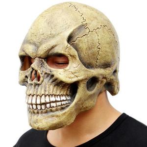 Assustador da máscara do crânio Inteiro Cabeça Realistic Partido Latex Máscara de Horror Skeleton Cosplay Halloween Para Homens Capacete