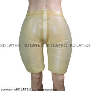 Şeffaf Şişme Seksi Lateks Uzun Bacak Boxer Şort ile Fermuar Nozul Kauçuk Boy Şort Külotlar İç Pantolon DK-0149