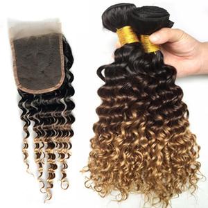 1B / 4/27 Ombre capelli con chiusura brasiliana vergine dei capelli onda profonda 3 pacchi con Pizzo Chiusura al 100% non trattati in profondità ricci dei capelli umani