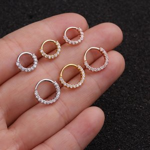 1pcs 6mm / 8mm / 10mm Cz Hoop Cartilage Ohrring Helix Tragus Daith Conch Rook Snug Ohr-Piercing Schmuck