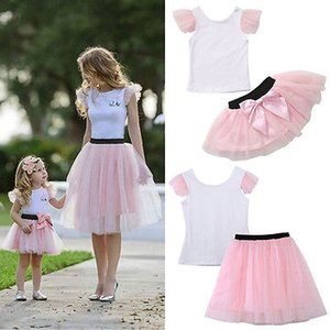 Family Matching Mother Daughter Girls Skirt Pink T-Shirt Summer Clothes Women Kids Tulle Tutu Bowknot 2pcs Outfits 0-4Y S-XL