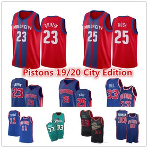 Hommes DetroitpistonsJersey City Blake Griffin 23 Derrick Rose 25 Grant 33 Dennis Hill 10 Rodman Isaiah Thomas Basketball Jersey