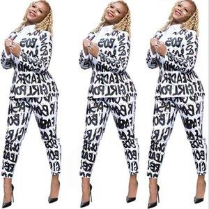 Печатные Костюмы Повседневная С Длинным Рукавом Длинные Брюки Мода Натуральный Цвет Костюмы Женская Одежда Женщины Дизайнерские Письма