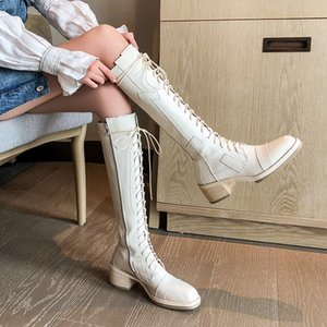 Frauen-Winter-echtes Leder Knight Boots Block-Med Absatz schnüren sich oben kniehohe Stiefel Motorrad-Reiten Stiefel Freizeitsicherheitsschuhe