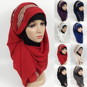 180x75cm alta calidad mujeres de la gasa de la bufanda larga musulmán llana del mantón de diamantes de imitación Hijab Pañuelo de cabeza Señora de la capilla de la estola Wraps