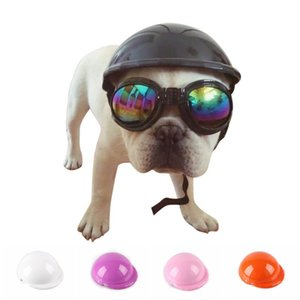 Dog Helmets for Motorcycles with Sunglasses Cool ABS Fashion Pet Dog Hat Helmet Plastic Pet Protect Ridding Cap SML Z
