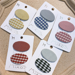 Girls plaid cloth hair clips boutique kids hair accessories children lattice ellipse hairpins girls barrettes A2833