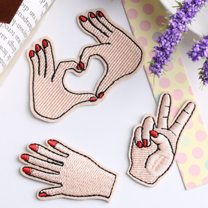 Peace Hand Clothes Embroidered Iron on Patches for Clothing DIY Stripes Motif Appliques Love patch for clothes bag