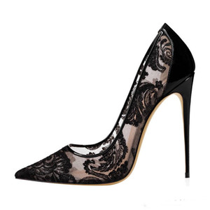 2019 Noir Dentelle Talon Haut eden talon Chaussures De Mariage Pour La Mariée Stilettos Rouge Bas Femmes Designer Talons Pointu Toe 12 CM Chaussures De Mariée