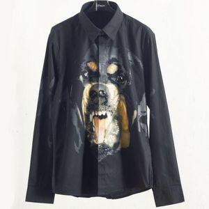 2019 mode Männer Hemd Männliche Hochwertige Langarmhemden Beiläufige Slim Fit Rottweiler muster Mann Hemden