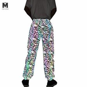 Осенью люди движимости красочных Полосатых Светоотражающих брюки ночного клуба хип-хоп брюки женщин Harajuku случайных отражать световые бегуны