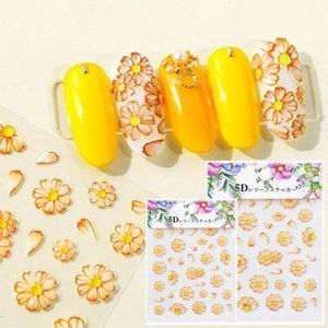 5D Рельефных ногтей наклейки бабочка Цветов Листы Patterns Nail Art Series цветок Рельефных ногти наклейка